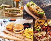面包汉堡包薯条摄影高清图片