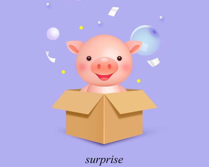纸箱猪宝宝PSD素材