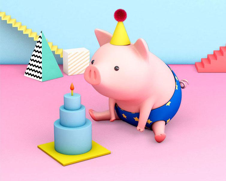 猪年生日快乐PSD素材