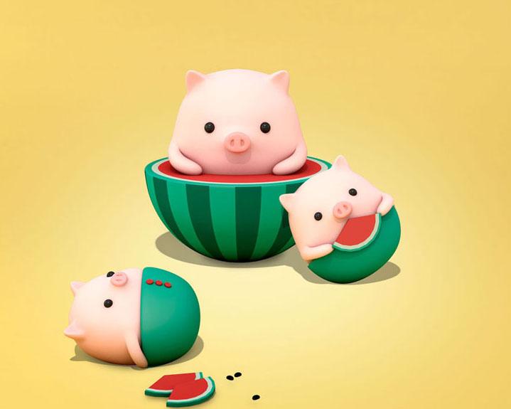 西瓜小猪新年PSD素材