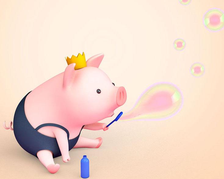 吹泡泡小猪PSD素材