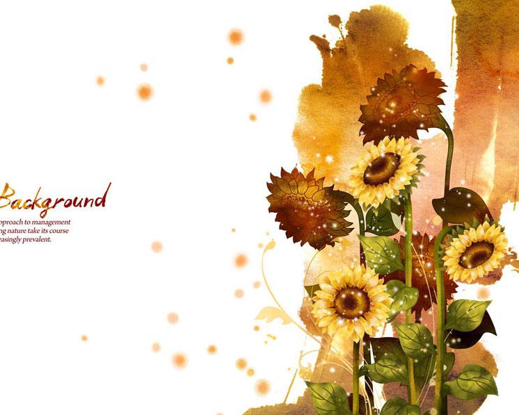 向日葵花朵画PSD素材