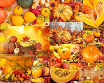 秋天叶子与南瓜摄影高清图片