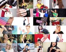 时尚美女与包包摄影高清图片