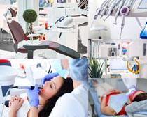 牙齒設備與女子攝影高清圖片