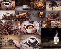咖啡果与热咖啡摄影高清图片