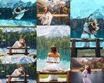 风景与美女写真拍摄高清图片