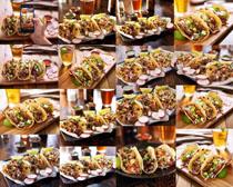 肉饼与啤酒摄影高清图片