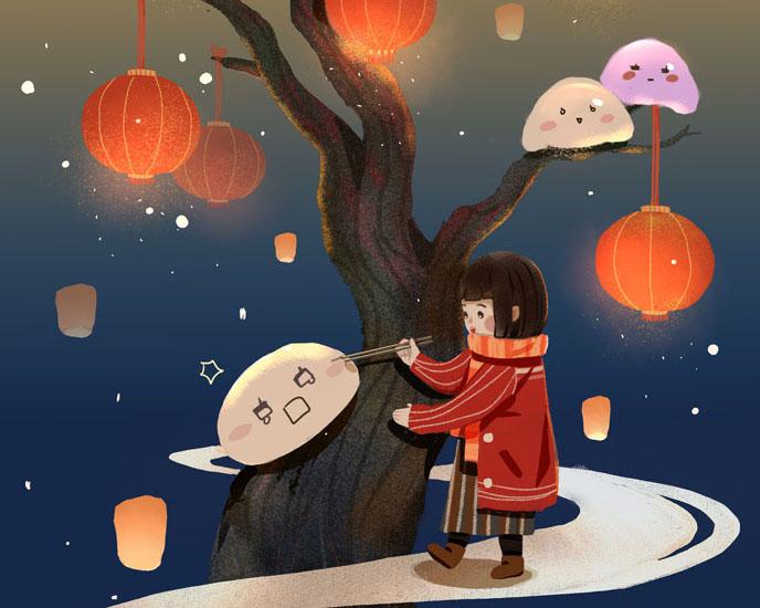 树木与小女孩元宵PSD素材