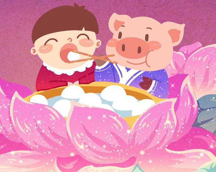 卡通猪与儿童PSD素材