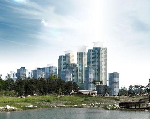 公園建筑地產樓房PSD素材