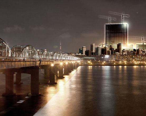 橋梁與城市建筑PSD素材