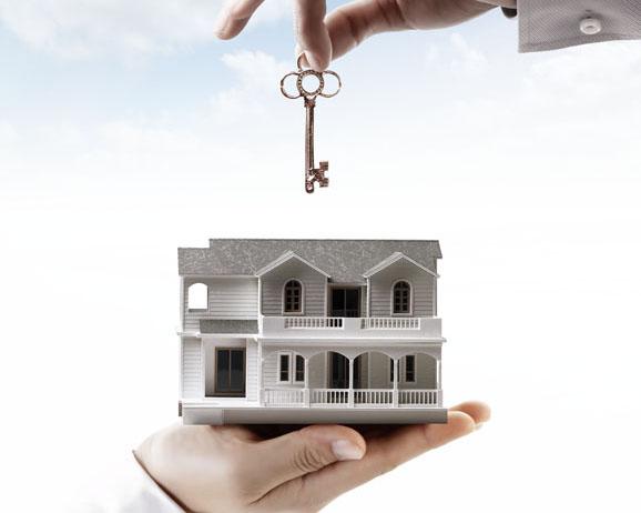 鑰匙與模型建筑PSD素材