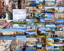 旅游小鎮建筑風景攝影高清圖片