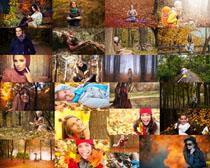 秋天风景女人拍摄高清图片