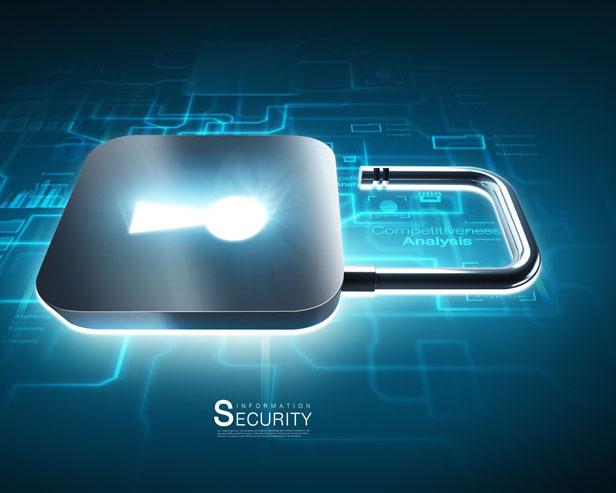 科技芯片锁PSD素材