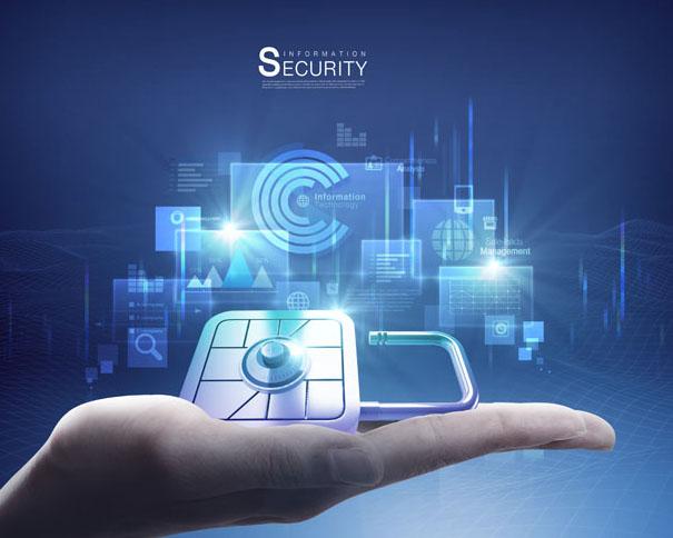 手中的科技锁PSD素材