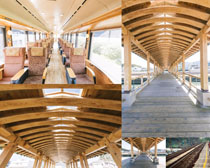 木头结构顶建筑摄影高清图片