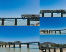 大海桥面上的火车摄影高清图片