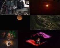 表演场景月亮摄影高清图片