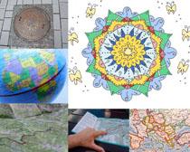 地圖地球與圖形攝影高清圖片