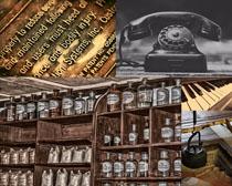 藥水與電話展示攝影高清圖片