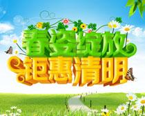 春姿绽放钜惠清明海报PSD素材