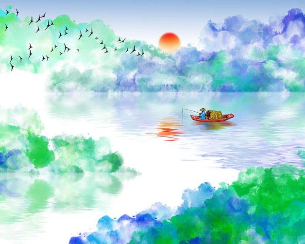湖泊山水水彩画PSD素材