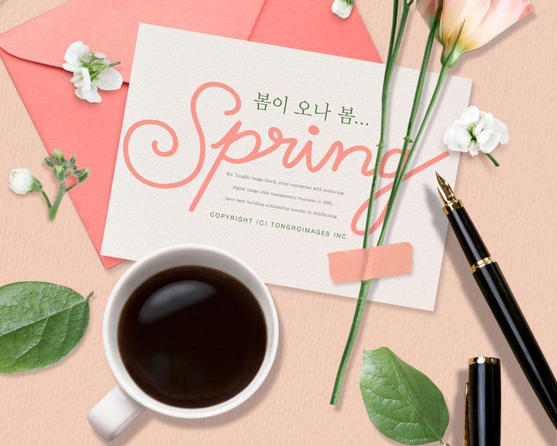 花朵咖啡卡片PSD素材