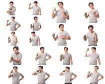 手拿果汁的生活男人摄影高清图片