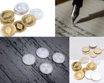 貨幣與鋼筆拍攝高清圖片