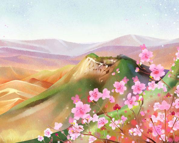 花朵山川水墨画时时彩投注平台