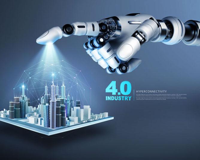 机器手指与城市PSD素材