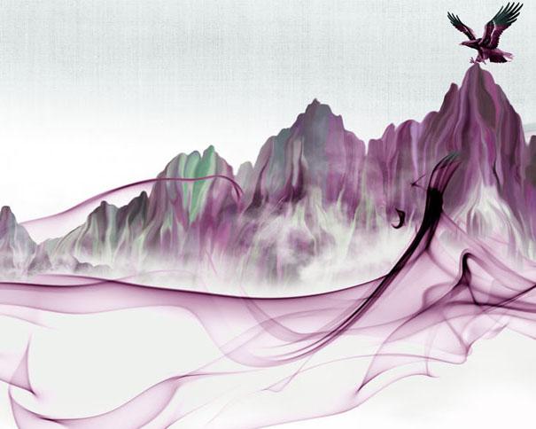 老鹰与山峰绘画PSD素材