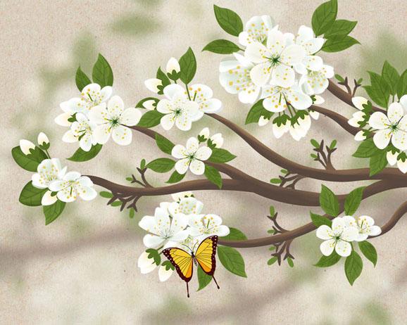 春天花朵风景PSD素材