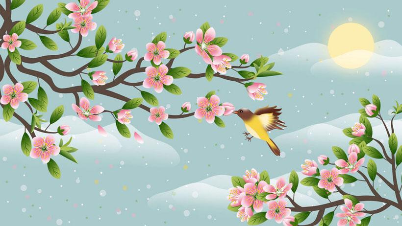 花朵小鸟插画PSD素材