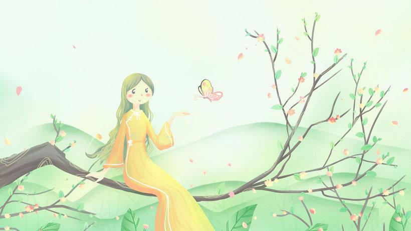 女孩春天花朵绘画PSD素材