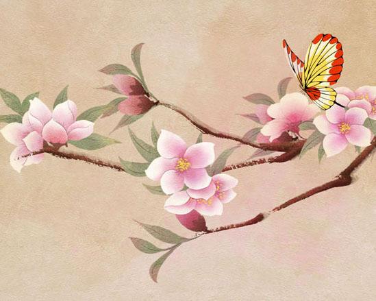 桃花与蝴蝶绘画PSD素材