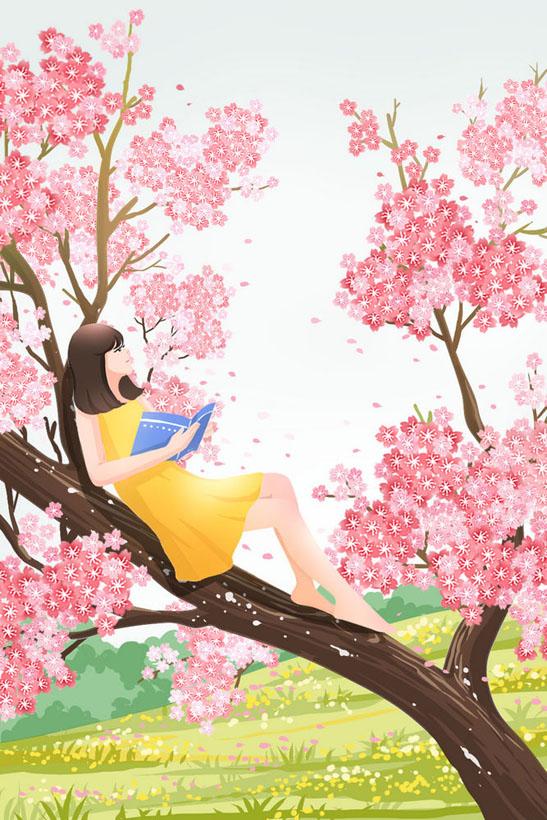 树上女孩绘画PSD素材
