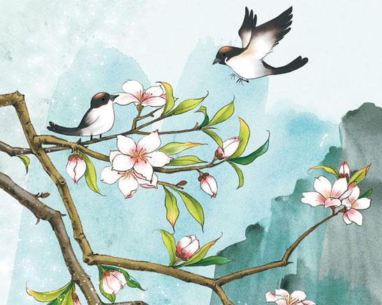 花朵小鸟绘画PSD素材