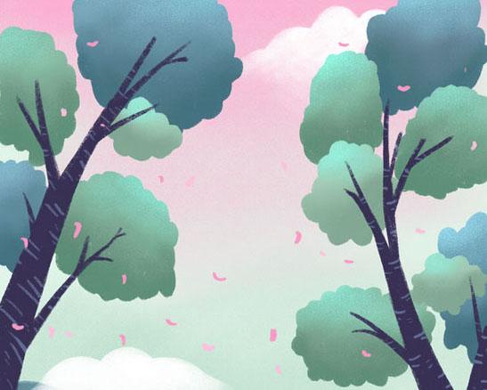 树木风景插画PSD素材