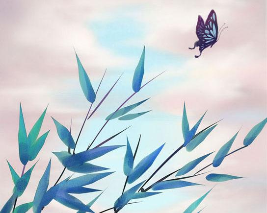 叶子蝴蝶绘画PSD素材