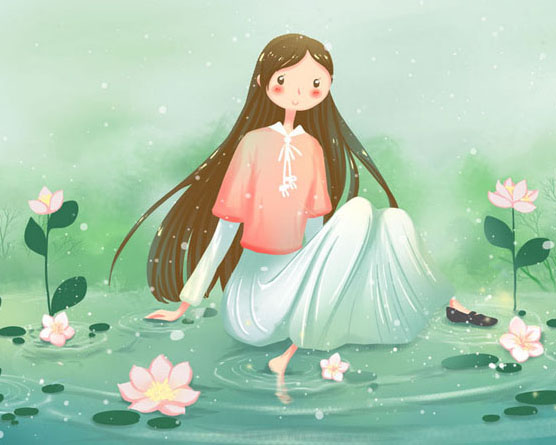 女孩卡通花朵插画PSD素材