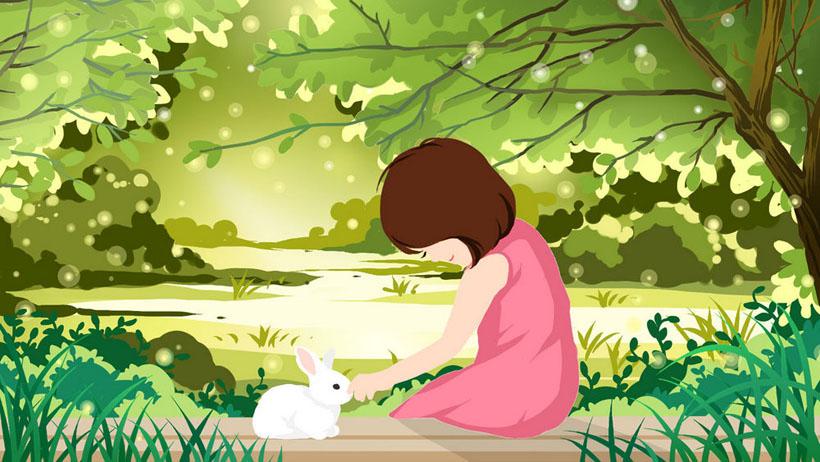 小女孩与兔子插画PSD素材