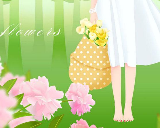 花朵女孩春天PSD素材