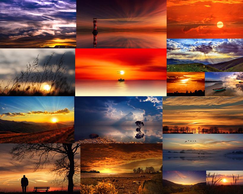落日夕阳风光拍摄高清图片