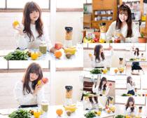 可爱女孩与水果摄影高清图片