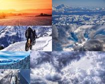 天空雪山风景拍摄高清图片