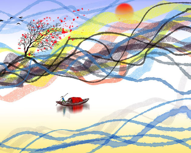 绘画涂鸦风景PSD素材