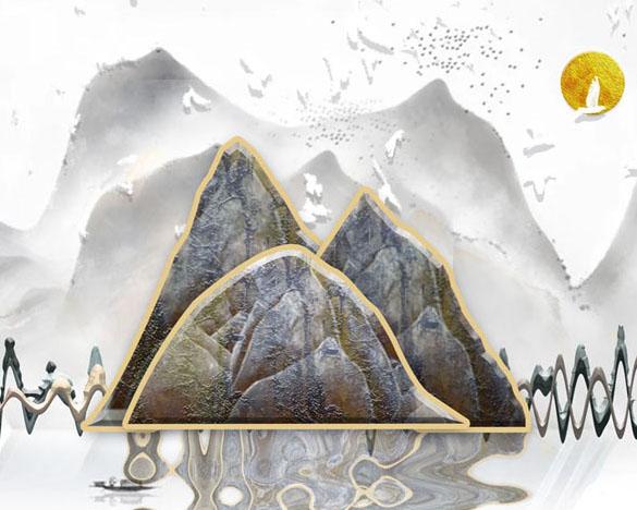 山峰艺术绘画PSD素材